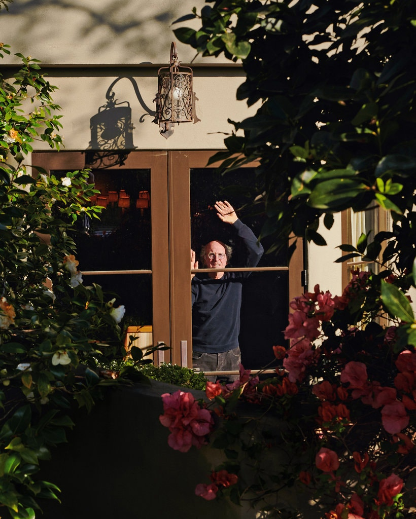 Larry David behind window for New York Times