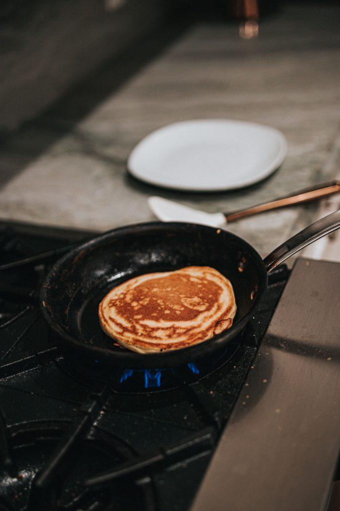 Pancake frying in pan
