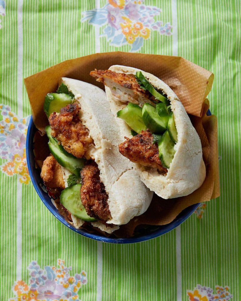 Chicken in pitta breads
