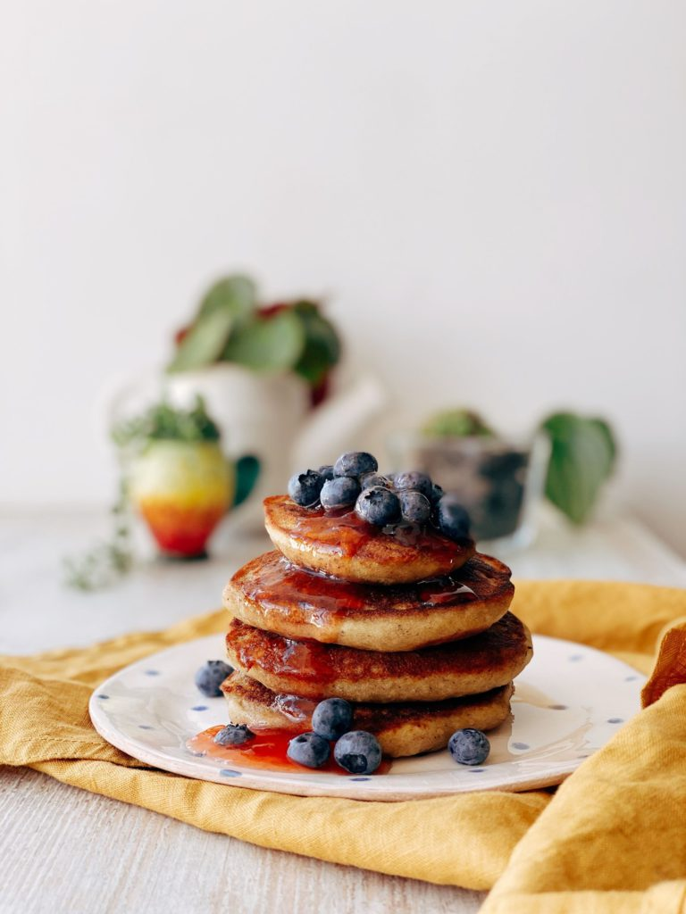Stack of pancakes and blueberries