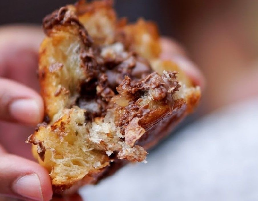 A delicious and flaky pastry with chocolate filling