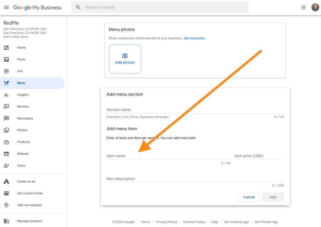 Google My Business Menu Builder Interface
