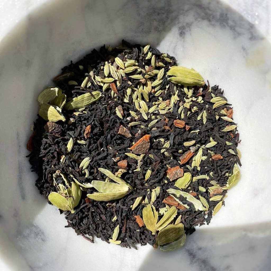 Chai Blue's own blend of loose leaf tea and raw spices