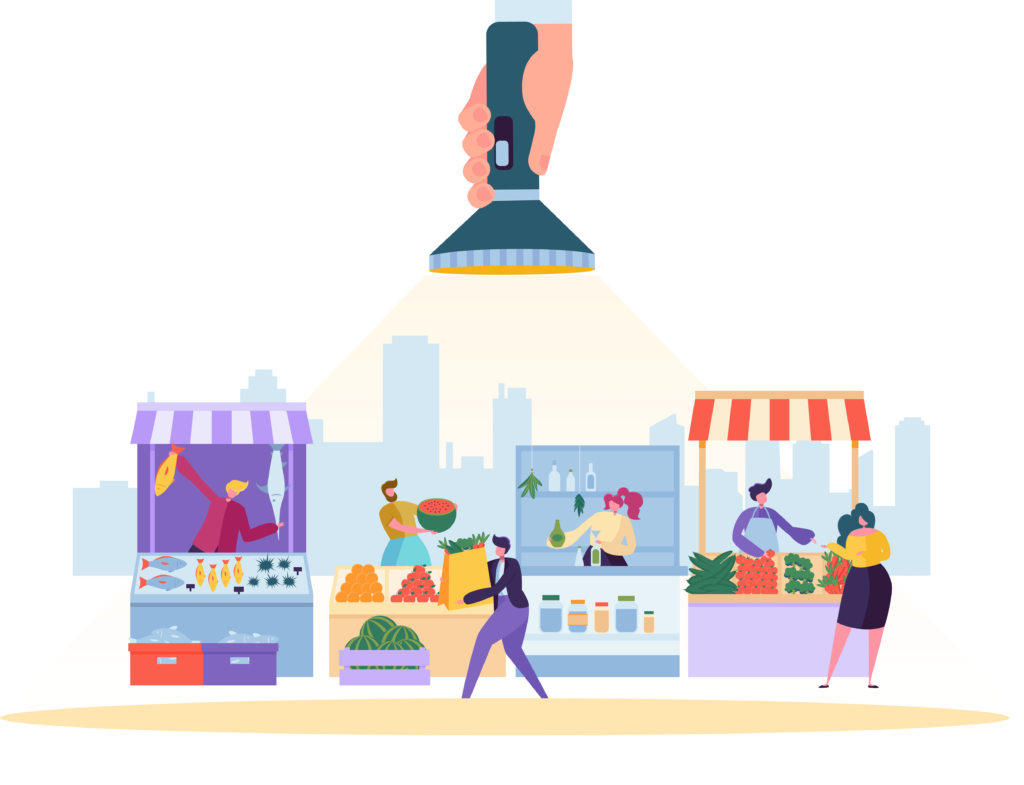 Graphic Showing Busy Market Scene